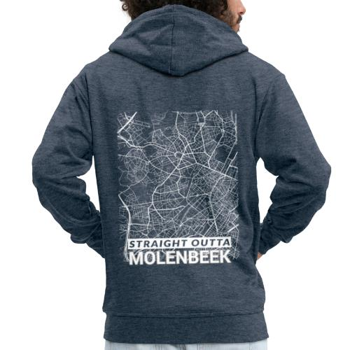 Straight Outta Molenbeek city map and streets - Men's Premium Hooded Jacket