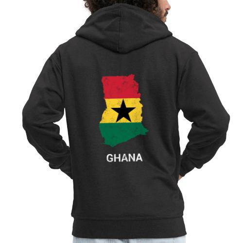 Ghana ( Gaana Gana ) country map & flag - Men's Premium Hooded Jacket