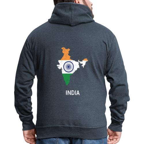 India ( Bharat ) country map & flag - Men's Premium Hooded Jacket