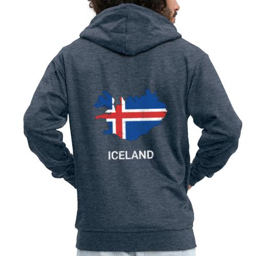 Iceland ( Island ) country map & flag - Men's Premium Hooded Jacket