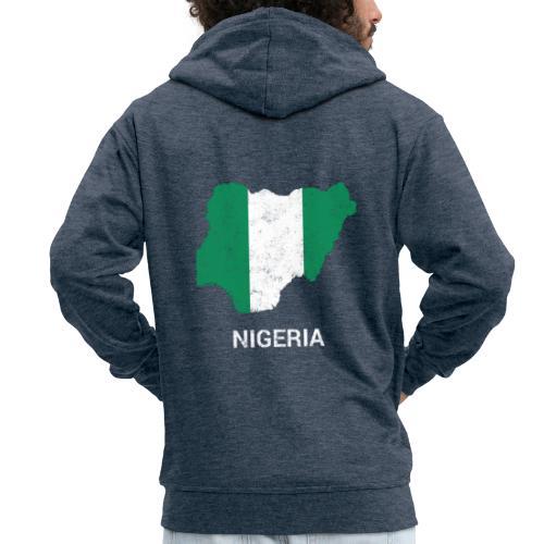 Nigeria country map & flag - Men's Premium Hooded Jacket