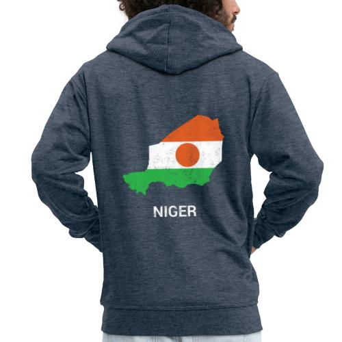 Niger country map & flag - Men's Premium Hooded Jacket
