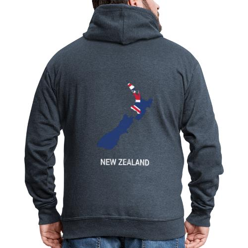 New Zealand country map & flag - Men's Premium Hooded Jacket