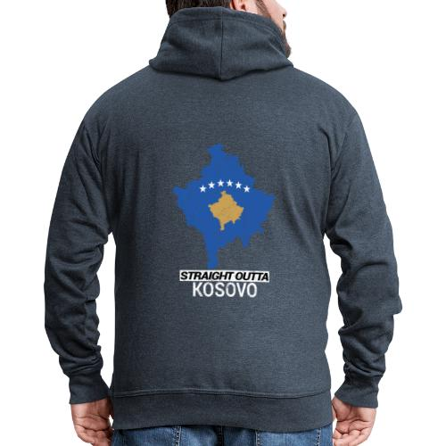 Straight Outta Kosovo country map - Men's Premium Hooded Jacket