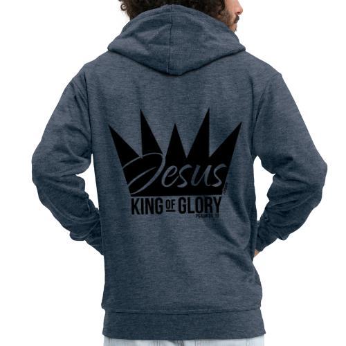 JESUS KING OF GLORY // Psalm 24:10 (BLACK) - Men's Premium Hooded Jacket