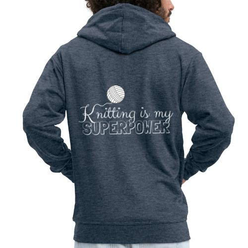 Knitting Is My Superpower - Men's Premium Hooded Jacket