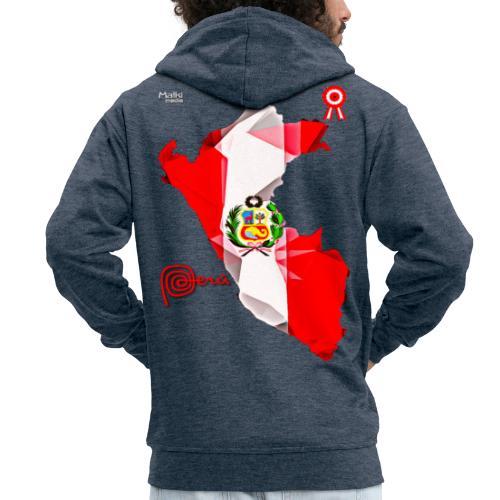 Mapa del Peru, Bandera y Escarapela - Men's Premium Hooded Jacket