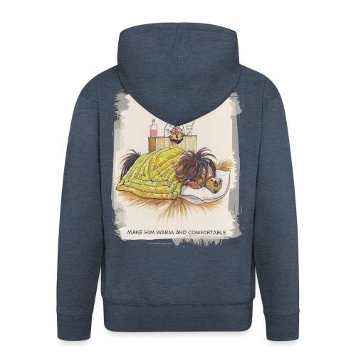 Thelwell Cartoon Pony liegt unter der Bettdecke - Männer Premium Kapuzenjacke