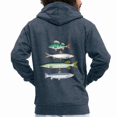 FOUR FISH - Ahven, siika, hauki ja taimen tuotteet - Miesten premium vetoketjullinen huppari