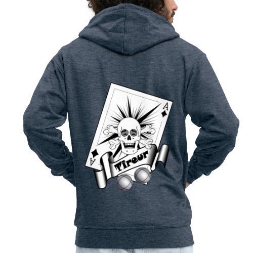 t shirt petanque tireur crane rieur carreau boules - Veste à capuche Premium Homme