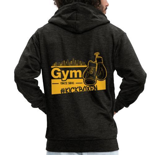 Gym Druckfarbe Orange - Männer Premium Kapuzenjacke