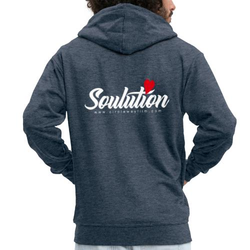 Soulution Logo – weiß - Männer Premium Kapuzenjacke