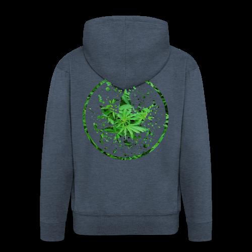 Cannabisblatt Farbklecks im Kreis - Männer Premium Kapuzenjacke