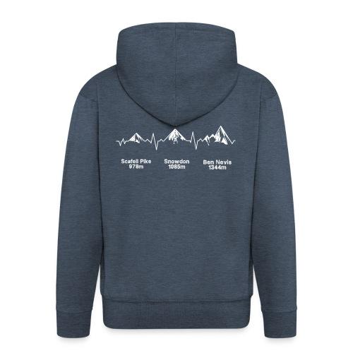 ECG Thee Peaks Dark Background - Men's Premium Hooded Jacket