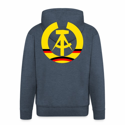 DDR coat of arms stylized (single) - Men's Premium Hooded Jacket