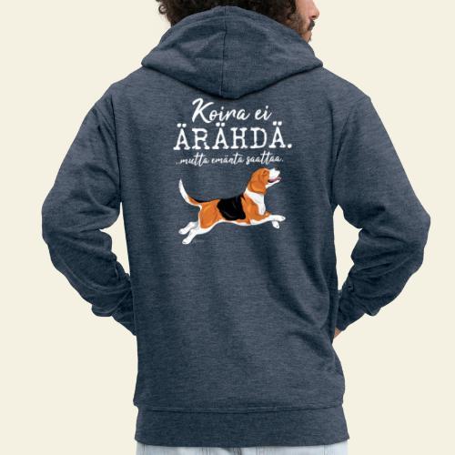 Beagle Ärähdä Emäntä - Miesten premium vetoketjullinen huppari