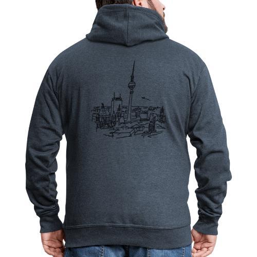 Berlin Panorama - Rozpinana bluza męska z kapturem Premium