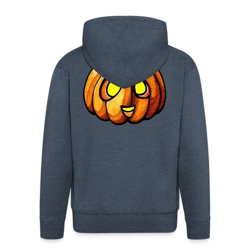 Pumpkin Halloween watercolor scribblesirii - Miesten premium vetoketjullinen huppari
