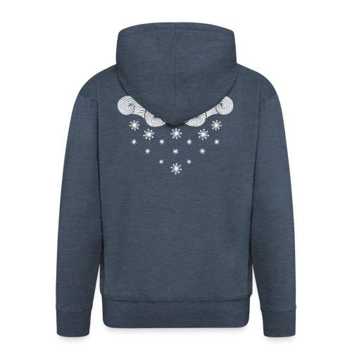 nuage blanc et flocons vacances d'hiver - Veste à capuche Premium Homme