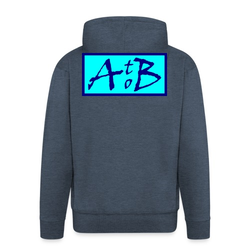 AtoB Logo light blue - Men's Premium Hooded Jacket