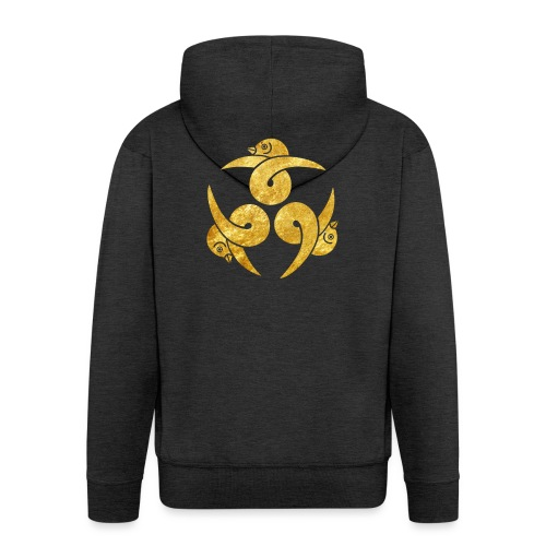 Three Geese Japanese Kamon in gold - Men's Premium Hooded Jacket