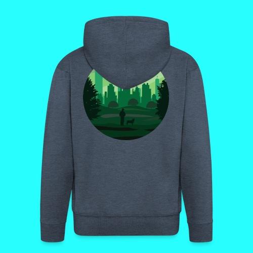 a green city - Felpa con zip Premium da uomo