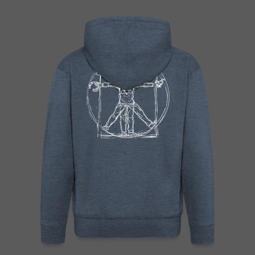 Vitruvian Gamer White Print - Männer Premium Kapuzenjacke
