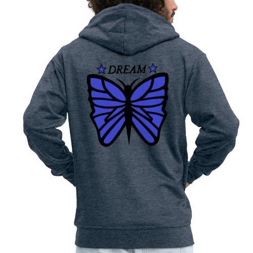 Motiv på en fjäril med ordet dream över. - Premium-Luvjacka herr
