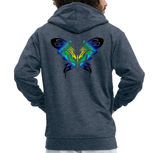 Motyl kolor - Rozpinana bluza męska z kapturem Premium