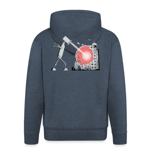 Robot Destroys City - Men's Premium Hooded Jacket