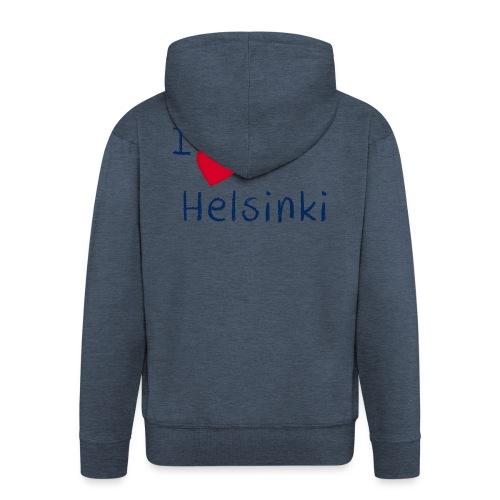 I Love Helsinki - Miesten premium vetoketjullinen huppari