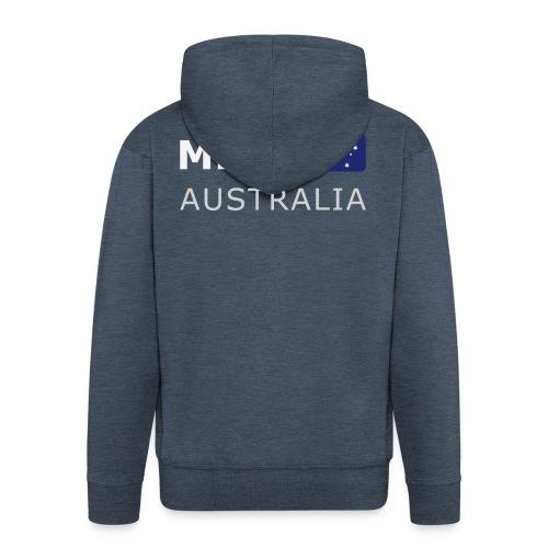 MEL AUSTRALIA white-lettered 400 dpi - Men's Premium Hooded Jacket
