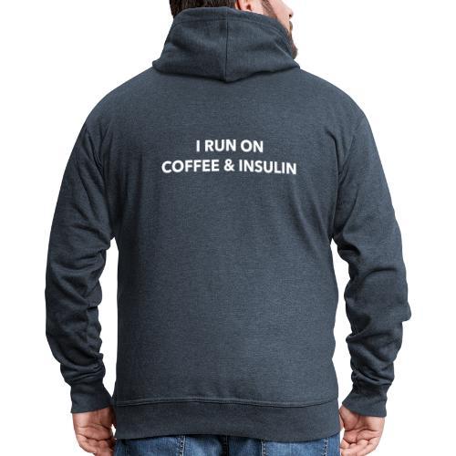 I Run on Coffee & Insulin v2 - Miesten premium vetoketjullinen huppari