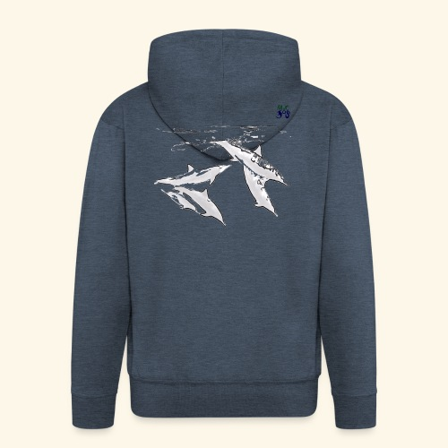 5 Gray dolphins - Men's Premium Hooded Jacket