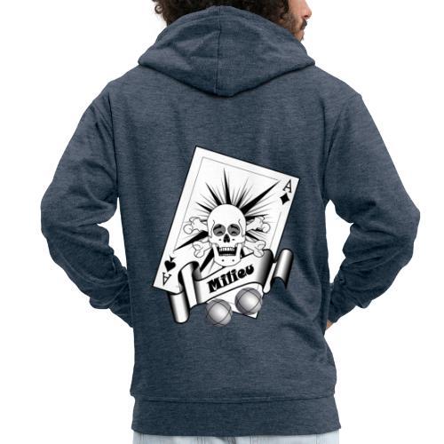 t shirt petanque milieu crane rieur as pointe tir - Veste à capuche Premium Homme