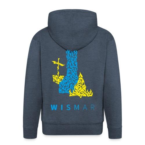 Wismar Dreiecksillustration blaugelb - Männer Premium Kapuzenjacke