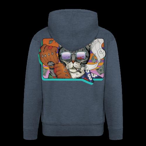 Crime Cat in Shades - Rozpinana bluza męska z kapturem Premium