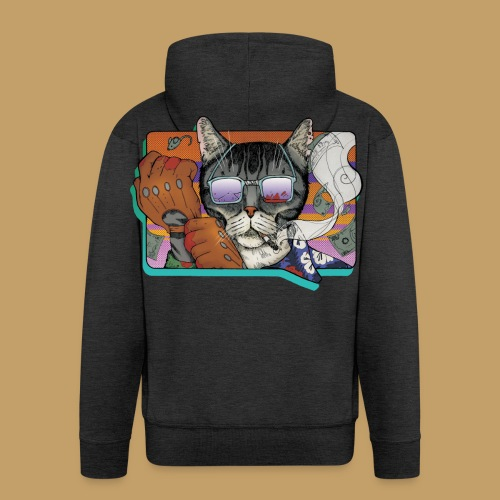 Crime Cat in Shades - Rozpinana bluza męska z kapturem Premium