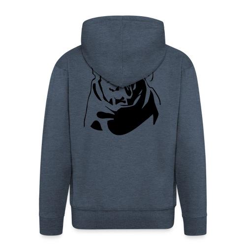 English Bulldog - negative - Miesten premium vetoketjullinen huppari