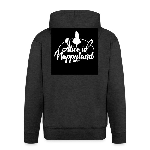 Alice in Nappyland TypographyWhite 1080 - Men's Premium Hooded Jacket