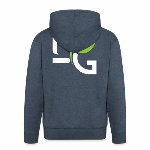 DrGreen Logo Symbol weiss grün - Männer Premium Kapuzenjacke