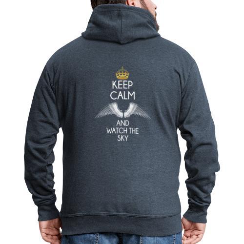 Keep Calm - Rozpinana bluza męska z kapturem Premium