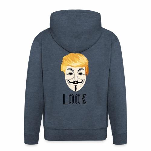 New Look Transparent /Anonymous Trump - Felpa con zip Premium da uomo