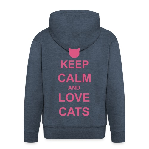 Keep Calm and Love Cats - Pink - Men's Premium Hooded Jacket