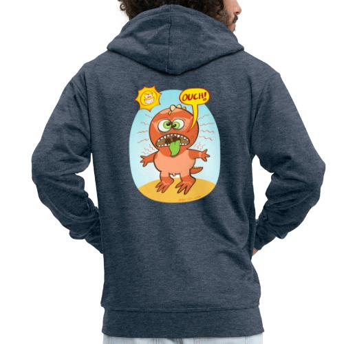 Bad summer sunburn for a funny dinosaur - Men's Premium Hooded Jacket