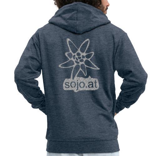 sojo.at Logo (Edelweiß und Sagzahn mit Schriftzug) - Männer Premium Kapuzenjacke