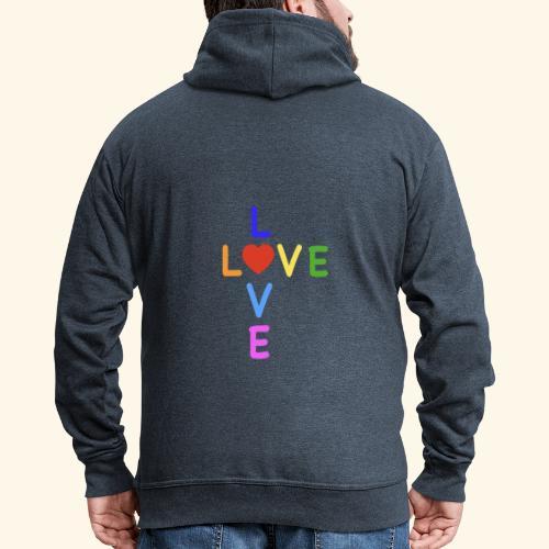 Rainbow Love. Regenbogen Liebe - Männer Premium Kapuzenjacke