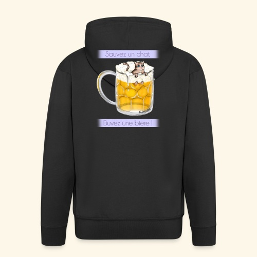Chat dans la bière - Veste à capuche Premium Homme