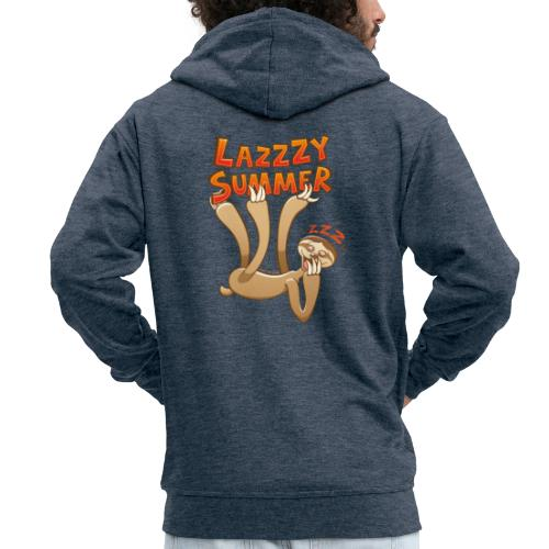 Sleepy sloth yawning and enjoying a lazy summer - Men's Premium Hooded Jacket