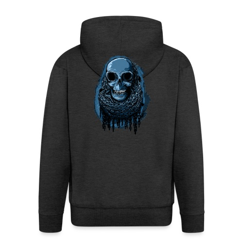 SKULL in CHAINS - deepBlue - Men's Premium Hooded Jacket